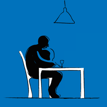 Obese person having a meal alone with blue background