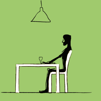 Anorexic person having a meal alone with green background
