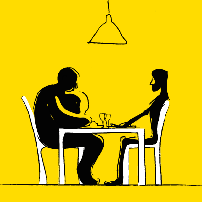 Obese and anorexic person having a meal together with a yellow background